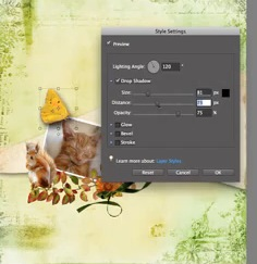 Digital Scrapbooking Tutorial - Add basic drop shadows to your layouts using Photoshop Elements