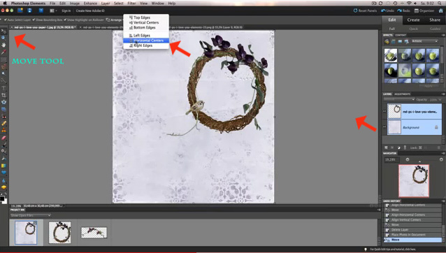 Center your elements and backgrounds in Photoshop Elements
