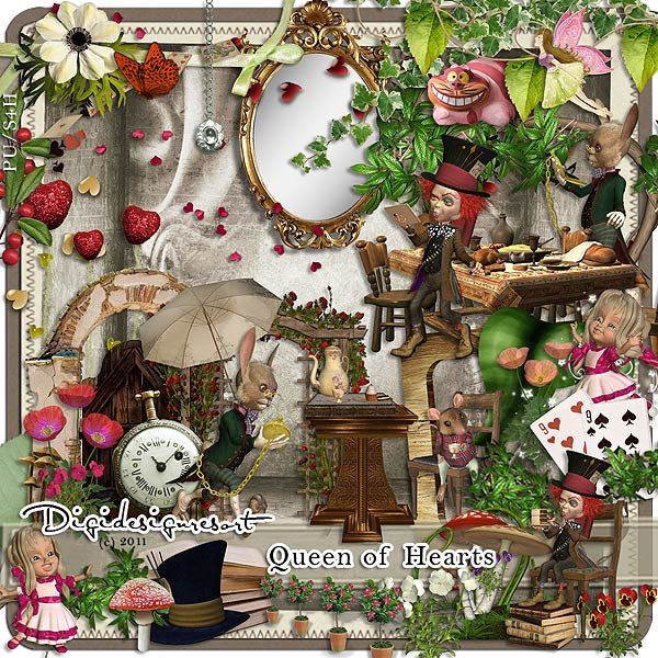 Digital Scrapbooking Kit Queen of Hearts