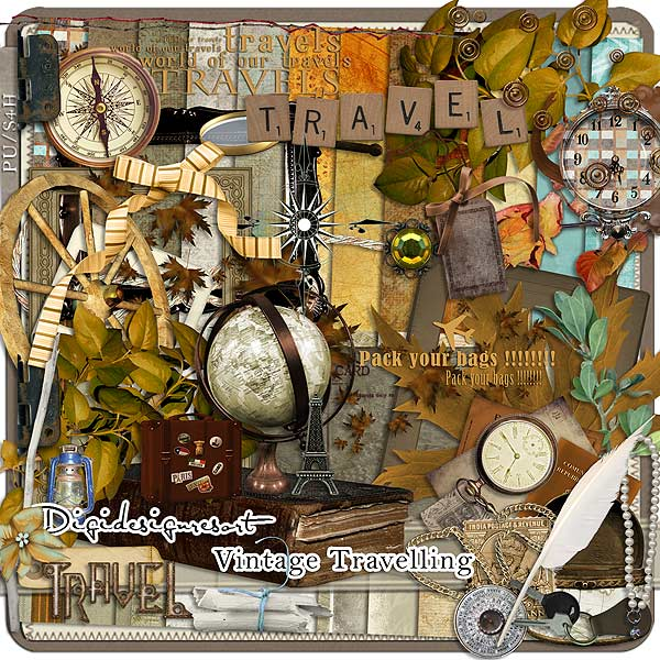 Vintage Travelling Digital Scrapbooking Kit