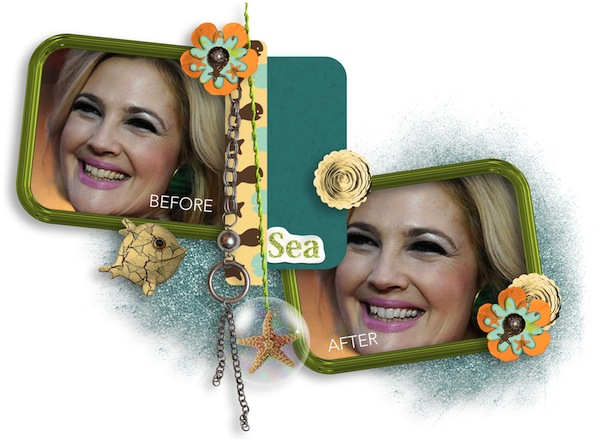 Whitening Teeth for Perfect Digital Scrapbooking Layouts