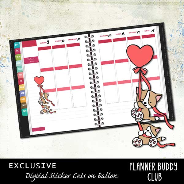 Cats on Ballon (Free Digital Planner Sticker)